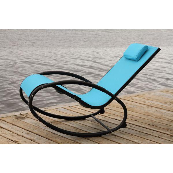 'Wave' Aluminium Blue Schaukelstuhl